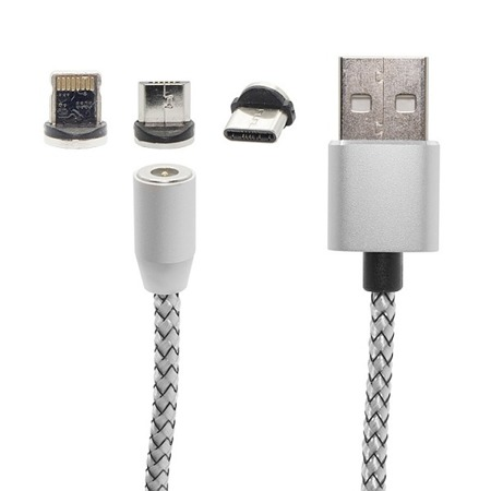 MAGNETIC CABLE 3IN1 MICRO-USB TYPE-C LIGHTNING SILVER
