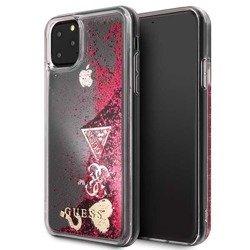 GUESS LIQUID GLITTER HEARTS IPHONE 11 PRO MAX GUHCN65GLHFLRA MALINOWY