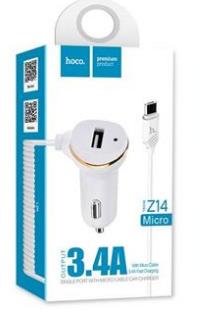 ŁADOWARKA SAMOCHODOWA HOCO - 3.4A 1x USB +MICRO USB 2.1A Z14 ZESTAW BIAŁY
